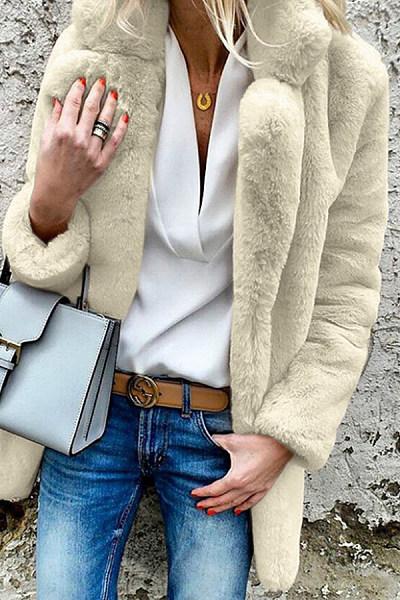 Asymmetric Neck  Fur Collar  Plain Outerwear