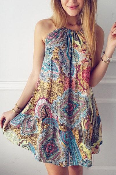 Round Neck  Printed  Sleeveless Casual Dresses