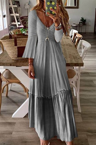 Long Sleeve Plain Ruched Hem Maxi Dress