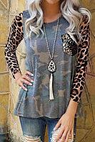Round Neck  Camouflage Leopard T-Shirts