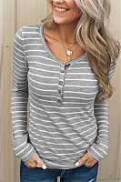 V Neck  Single Breasted  Striped T-Shirts
