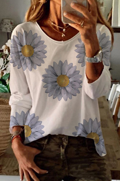 Daisy Printed Long Sleeve T-shirt