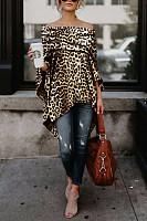 Off Shoulder  Leopard Printed Asymmetric T-Shirts