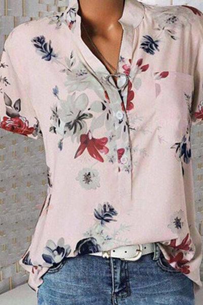 Short Sleeve Flower Print Loose Blouse