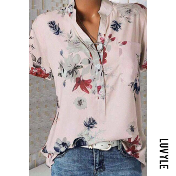 Pink Stand Collar Short Sleeve Flower Print Loose T-Shirt Pink Stand Collar Short Sleeve Flower Print Loose T-Shirt