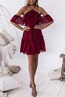Halter  Plain  Bell Sleeve  Short Sleeve Skater Dresses