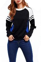 Round Neck  Contrast Stitching  Patchwork  Sweatshirts