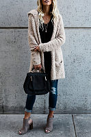Hooded Slit Pocket Snap Front Plain Outerwear