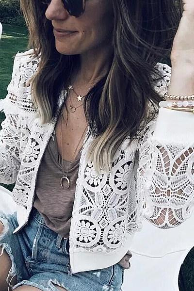 Band Collar  Decorative Lace  Plain Jackets