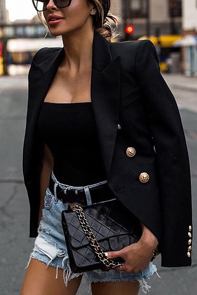 Solid Color Single Row Button Folded Collar Blazer