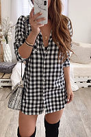 Turn Down Collar  Single Breasted  Gingham  Long Sleeve Casual Dresses