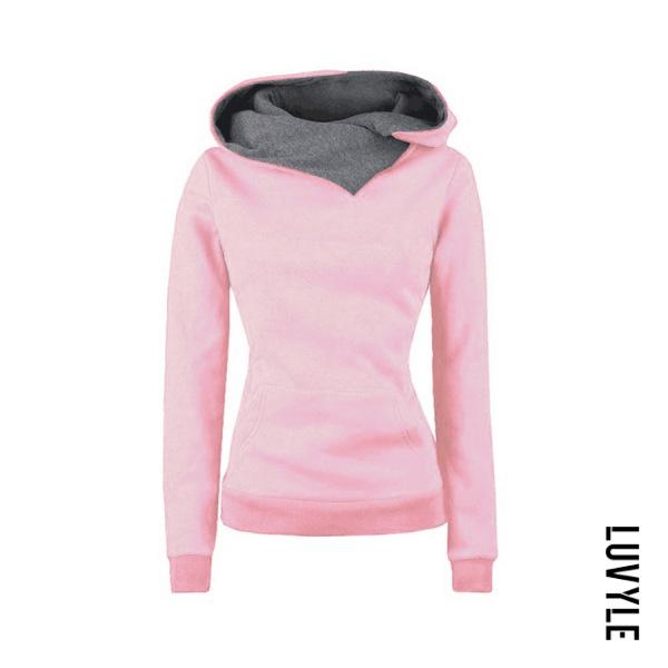 Pink Hooded Drawstring Plain Hoodies Pink Hooded Drawstring Plain Hoodies