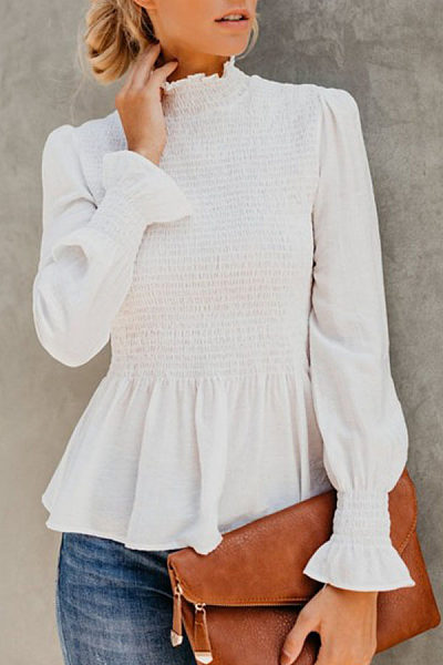 High Neck  Plain  Bell Sleeve  Blouses