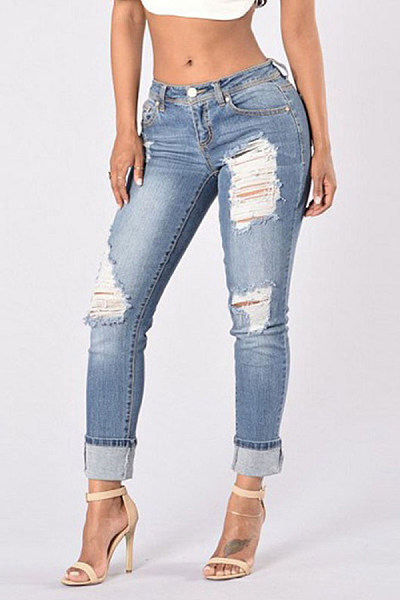 Casual Hole Elastic Feet Jeans