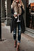Faux Fur Collar  Asymmetric Hem  Plain Outerwear