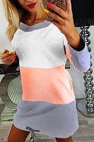 Round Neck  Backless Bowknot  Color Block  Long Sleeve Casual Dresses