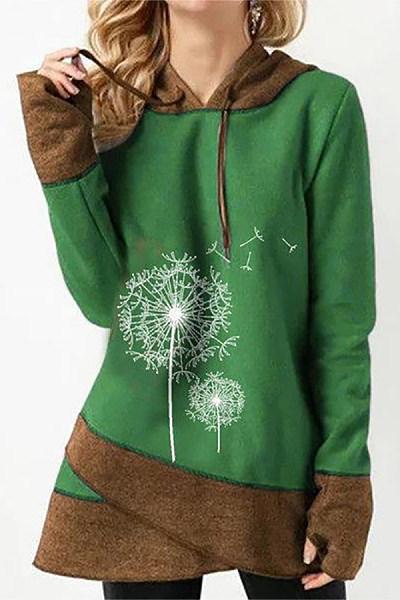 Casual Long Sleeve Colouring Printed Hoody