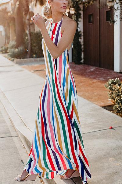 Sexy Fashion Stripe Vacation Maxi Dress