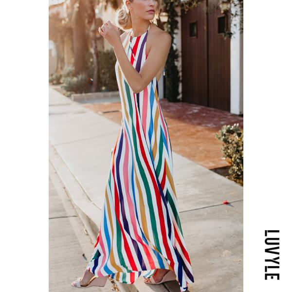 Stripe Sexy Fashion Stripe Vacation Maxi Dress Stripe Sexy Fashion Stripe Vacation Maxi Dress
