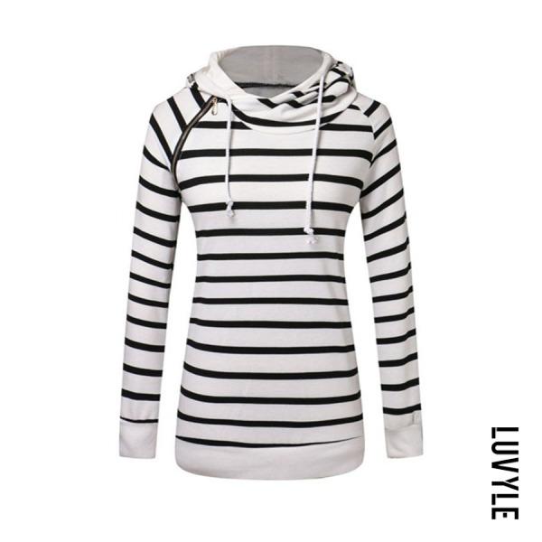 Basic Striped Zips Hoodie