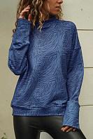 Spring High Collar Zebra-Stripe Casual Long Sleeves T Shirt