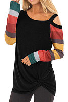 Casual Striped Long Sleeve Off-Shoulder T-Shirt