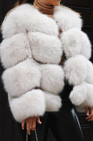 Autumn and winter short faux fur coat jacket