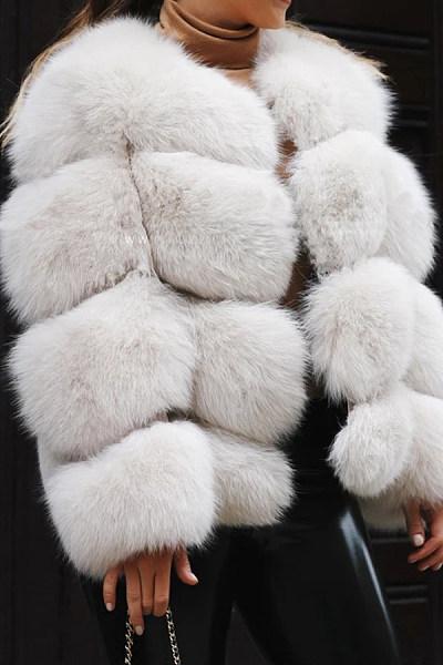 Autumn and winter short faux fur coat jacket