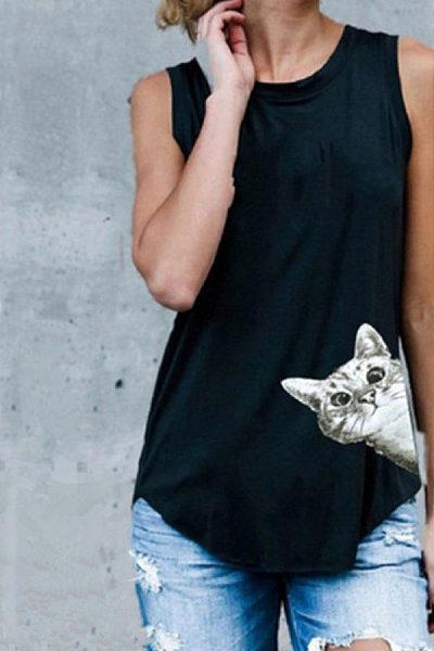 Round Neck Cat Vest