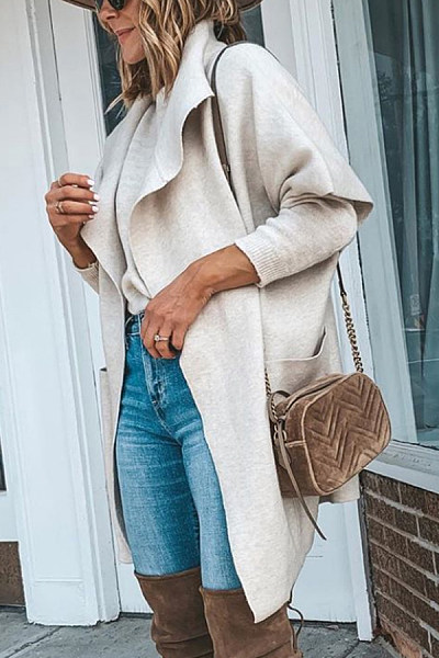 Women Casual Plain Loose-Fitting Outerwear
