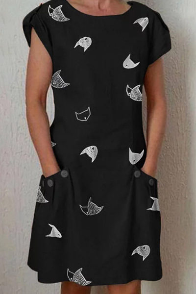 Round Neck Cat Casual Dress