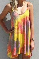 Deep V-Neck Casual Tie dye Mini Dress