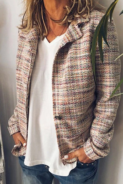 Fashion Lapel Plaid Long Sleeves Outwear