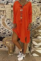 V Neck Long Sleeve Plain Split Casual Dress