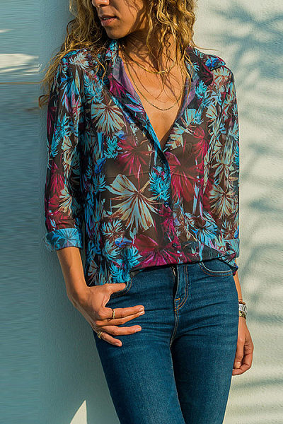 Floral Printed Lapel Long Sleeve Casual Blouses
