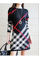 Round Neck  Printed  Cotton Blend Shift Dress