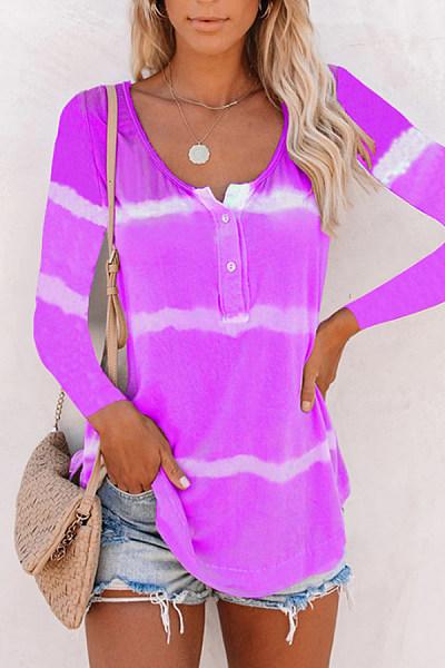 Tie-dye Striped Long Sleeve T-shirt