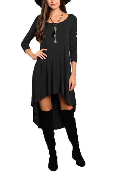Round Neck  Asymmetric Hem  Plain  Short Sleeve Casual Dresses