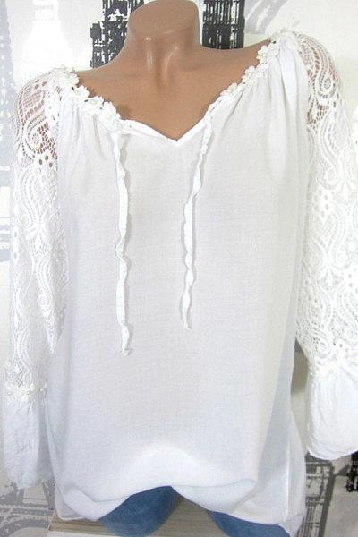 Autumn Spring  Women  Decorative Lace  Long Sleeve Blouses