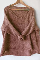 V Neck Plain Casual Knit Top