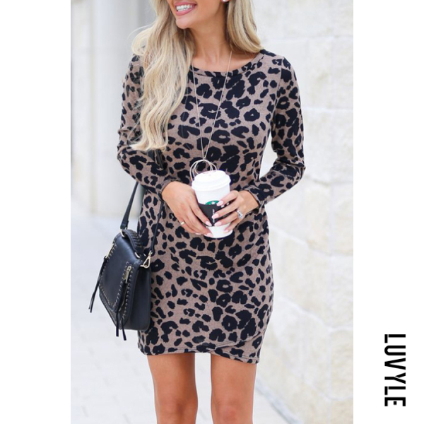 Dark Khaki Round Neck Leopard Printed Long Sleeve Bodycon Dresses Dark Khaki Round Neck Leopard Printed Long Sleeve Bodycon Dresses