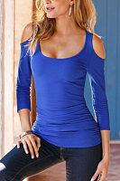 Open Shoulder Round Neck  Plain T-Shirts