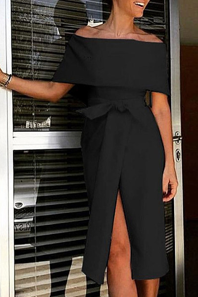 Fashion Off Shoulder Plain Bow Slit Bodycon Dress