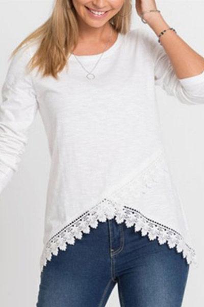 Round Neck Irregular Hem T-Shirt