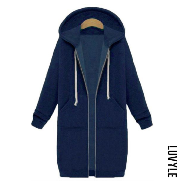Navy Blue Fashion Long Sleeve Loose Hoodie Coat Navy Blue Fashion Long Sleeve Loose Hoodie Coat