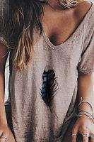 V Neck Printed Casual T-Shirts