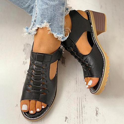 Women's fish mouth vintage heel sandals