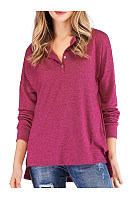 V Neck  Loose Fitting Patchwork  Plain  Batwing Sleeve Long Sleeve T-Shirts