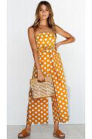 Fashion Polka Dot Printed Belted Jumpsuit