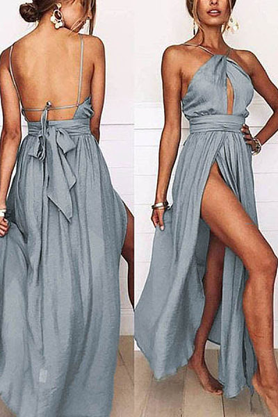 Sexy Halter Neck Sleeveless Maxi Dress